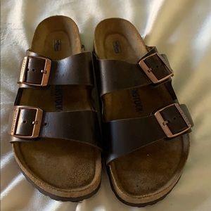 Brown leather Birkenstocks